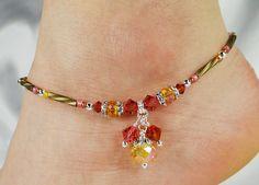 Anklet, Ankle Bracelet, Sunshine Orange Watermelon Pink, Crystal Anklet Dangle Anklet, Orange Anklet, Pink Anklet, Boho Jewelry, Boho Anklet