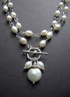 Long Pearl Statement Necklace. Long Pearl Wire Wrapped Necklace. Bridal Jewelry - Grace Necklace