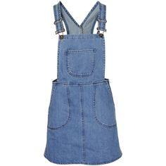 Denim Dungaree Mini Dress ($21) ❤ liked on Polyvore featuring dresses, denim, dungaree dress, short dresses, blue mini dress, denim mini dress and denim dresses