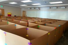 WHAT?!?!  A life sized maze (in the library) made from cardboard, with a scavenger hunt too. (by Rachel Moani)