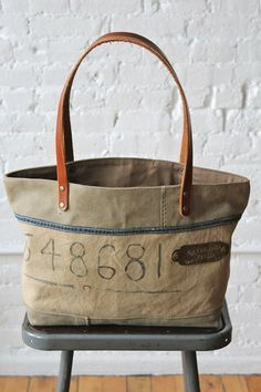 WWII era Canvas Carryall w/ early 1900's Brass Tag - FORESTBOUND