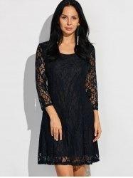 AdoreWe - Gamiss Scoop Neck Three Quarter Sleeve Lace Dress - AdoreWe.com