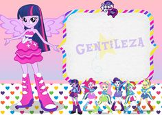 Kit Equestria Girls ( My Little Pony ) Equestria Girls, Festa Do My Little Pony, Girl Birthday, Birthday Parties, Girls Party, Message Card, Princess Peach, Minnie Mouse, Birthdays