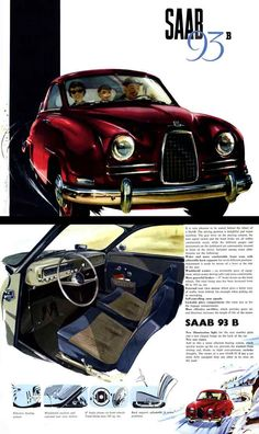 Vintage Advertisement For The 1958 Saab 93-B