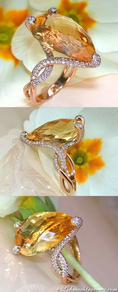 Beautiful Citrine Diamond November Birthstone Ring, 15,46 cts. RG-18K --