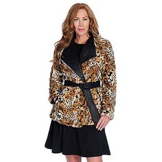 Pamela McCoy Faux Fur Long Sleeved Tie-Waist Coat. Shown in the brown, black and white leopard print!
