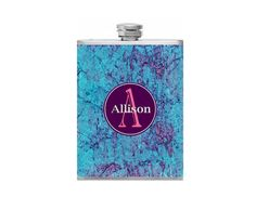 Personalized Flask Name Monogram Teal and by BottomsUpFlasks, $15.00