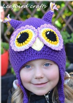 Handmade вязание крючком Сова шляпу девочки шапка символ шляпа по Leafbirdcrafts