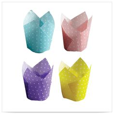 2x1/4 x 2x3/4 x 4 Large Blue Pink Purple and Yellow Dot Tulip Cupcake Wrapper Medley/Case of 500