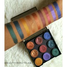 Best Colourful Eye shadows! Do you like Makeup Geek eyeshadows? I swatched and reviewed a whole bunch of them on my blog. Click here to see more swatches. http://www.beautyfrenzyblog.com/makeup-geek-eyeshadows-review-photos-swatches-on-a-woman-of-colour/ #makeupGeek #eyeshadows