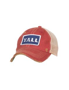 Judith March Distressed Red with YALL Patch on Front with Cream Mesh Snap Back Cap   Cavender's