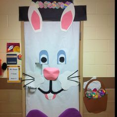 easter dorm door! Put out Easter eggs in a basket. Candy?