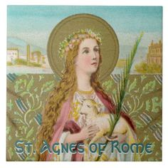 Agnes of Rome (BC Postcard created by Saints_Aplenty. St Agnes, Photo Blocks, Early Christian, Religious Gifts, Patron Saints, White Elephant Gifts, Office Gifts, Engagement Couple, Custom Stickers
