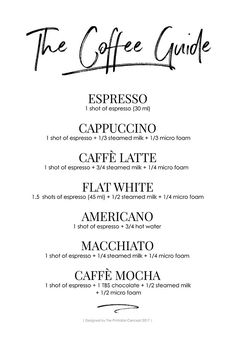 The Coffee guide is a modern and minimalist printable wall art will look great in every coffee lover's house. The Coffee Guide Coffee Drink Recipes, Coffee Menu, Coffee Type, Coffee Drinks, Coffee Shop, Hot Coffee, Coffee Facts, Coffee Quotes, Coffee Chart