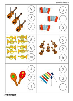 Musical Instruments For Toddlers, Preschool Activities, Activities For Kids, Music Math, Music Worksheets, Piano Teaching, Musicals, Learning, Kids Songs