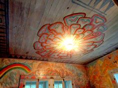 Zinnia, Walter Anderson's favorite flower, on the ceiling of his secret room where he painted his personal wall murals which were found after he died by his wife - the room was cut off from his house and put in his museum in Ocean Springs, Mississippi - photo by Sandy Robert