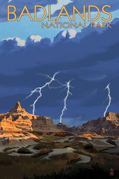 Canvas (Badlands National Park, South Dakota – Lightning Storm – Lantern Press Artwork) – Hobbies paining body for kids and adult National Park Posters, Us National Parks, Party Vintage, Badlands National Park, Poster Prints, Art Prints, Vintage Travel Posters, South Dakota, Storm Lantern