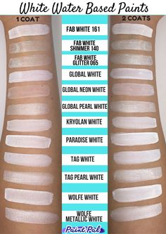 Water Based Body Paint Comparison #swatch - White