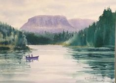 Fishing the Kam River 11in X 15in watercolour on Arches 140lb cold pressed paper by Ken Crawford