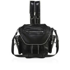 Alexander Wang Mini Marti Ball Leather Backpack ($955) ❤ liked on Polyvore featuring bags, backpacks, real leather backpack, mini rucksack, mini backpack, alexander wang and leather strap backpack