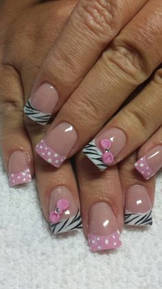 Pink zebra and polka dots! how much better can you get! Cute Nail Art, Cute Nails, Pretty Nails, Fabulous Nails, Gorgeous Nails, Shellac Nails, Diy Nails, Polka Dot Nails, Polka Dots