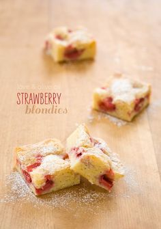 White Chocolate and Strawberry Blondies, subtly sweet and fabulously buttery, studded with chunks of juicy roasted berries.