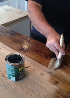 DIY Reclaimed Wood Countertop - coating with Spar Urethane
