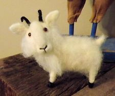 OOAK Artist Needle Felted Sculpted Wool Miniature Billy Goat