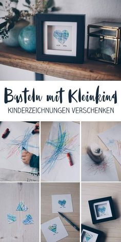 DIY gift idea with children& drawing - gift idea for grandma .- DIY Geschenkidee mit Kinderzeichnung – Geschenkidee für Oma und Opa DIY gift idea with child& drawing – make gifts with toddler – heart in the frame for grandma and grandpa idea - Grandma And Grandpa, Grandma Gifts, Diy Para A Casa, Diy For Kids, Crafts For Kids, Children Crafts, Diy Y Manualidades, Diy Bebe, Father's Day Diy