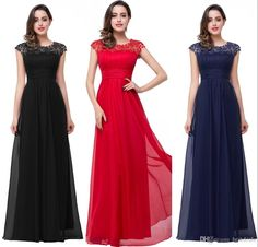 2016 Lace Chiffon Evening Dresses Long Lacey Neckline Open Back Elegant Summer Dresses New Evening Gowns Prom/Party/Bridesmaid/Mother Dress Long Evening Dresses For Sale Evening Dress Formal From Bestdeals, $101.64| Dhgate.Com