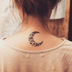 Floral crescent moon tattoo by Tattooist Grain