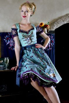 Lola Paltinger Dirndl türkis This got it all. off-the-shoulder embroidered… Sexy Dresses, Beautiful Dresses, Dress Outfits, Nice Dresses, German Fashion, European Fashion, Traditional Fashion, Traditional Dresses, European Dress
