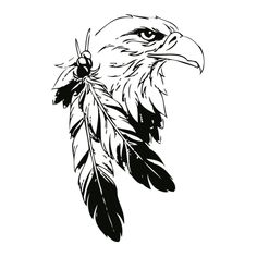 indian eagle wall tattoo #silhouette #digistamp #bird #line drawing