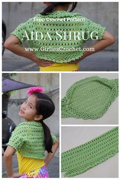 Free Crochet Pattern: Aida Shrug , a kid's bolero crochet pattern with photo tutorial in each step to guide you.