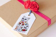 Tattoo Cat Gift Tags