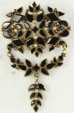 Victorian Antique 14k Gold Large Onyx Pearl Mourning Dangling Pin 11 6 Grams   eBay