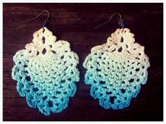 Hand Died Ombre Vintage Crochet Earrings by Bentrova on Etsy, $15.00