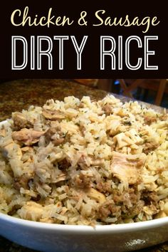 Chicken & Sausage Dirty Rice! A hearty recipe made with bulk sausage, chicken and rice seasoned with classic Cajun flavors and spices.