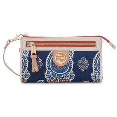 Spartina 449 Blue Boheme Fan Fare Wallet ($65) ❤ liked on Polyvore featuring bags, wallets, blue, boho chic bags, paisley wallet, paisley bag, bohemian bags and boho bags