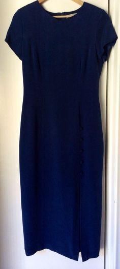 Adrianna Papell VTG 100% Silk Long Dress Navy Blue Shoulder Pads Cap Sleeves 10 #AdriannaPapell