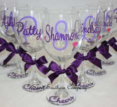5 Monogrammed Wine Glasses - Choose Your Font - Great for Bride and Bridesmaids Gifts on Etsy, $52.88 CAD