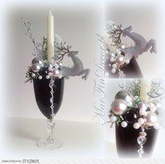 Stroik Świąteczny w czarnym szkle