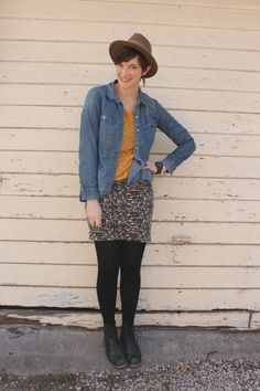 96358a0e04f denim shirt with skirt and brown hat Hipster Hat