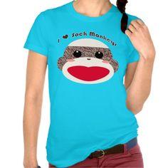 Sock Monkey Face Ladies T-shirt