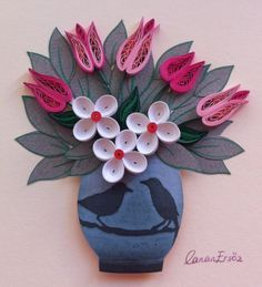 Quilling. Tulips. By Canan Ersöz. Quilling Craft, Quilling Patterns, Quilling Designs, Paper Quilling, Paper Art Projects, Projects To Try, Paper Crafts, Origami, Quilling Techniques