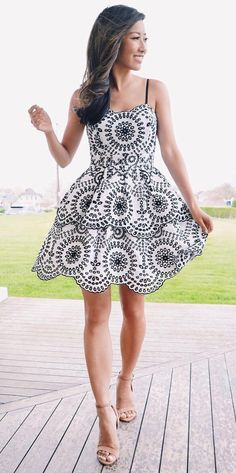 tiered dress in black and white