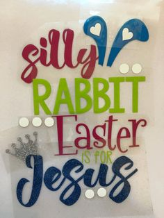 Glitter Monogram Iron on Easter Silly rabbit by MyNailCreations