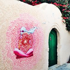 """Street art by Inkman & Brusk   Street art collaboration in Erriadh, for """"Djerbahood"""" collective project, Tunisia."""