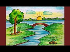 How to Draw Simple Sunrise Scenery for Kids Scenery Drawing For Kids, Drawing Lessons For Kids, Drawing Videos For Kids, Drawing Tutorials For Kids, Easy Drawings For Kids, Drawing For Beginners, Painting For Kids, Drawing Ideas, Drawing Tips