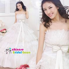 Style 8017, Pretty  Organza Ball Gown Strapless Chinese Wedding Dress by CBG.